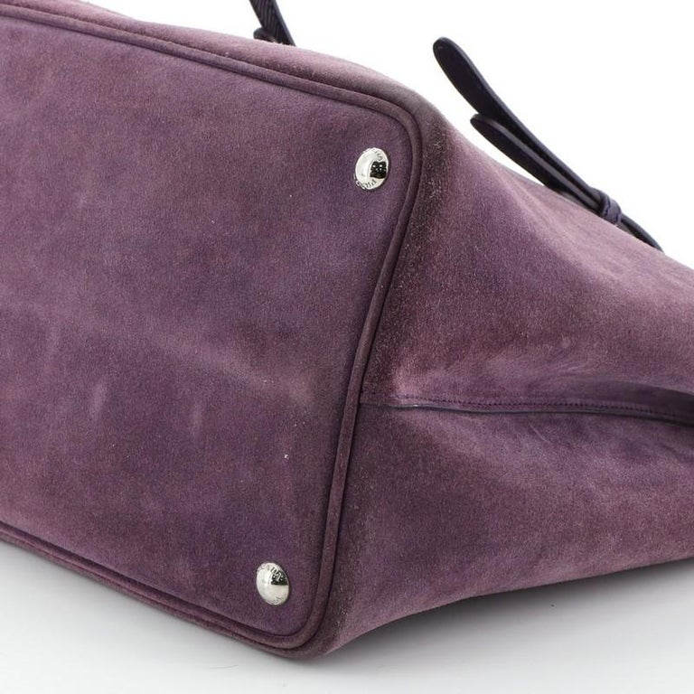 Prada Cuir Double Tote Suede Medium For Sale 2