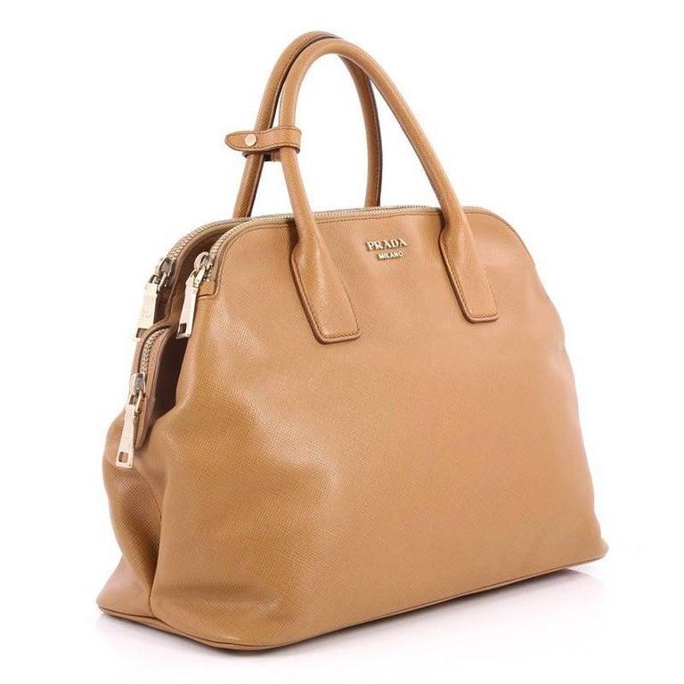Brown Prada Cuir Triple Zip Dome Tote Saffiano Leather For Sale 7516932e02