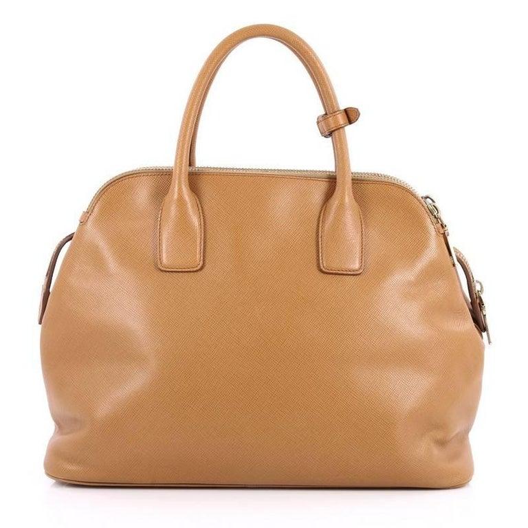 Prada Cuir Triple Zip Dome Tote Saffiano Leather In Good Condition For Sale  In New York d7cbf4c0d3
