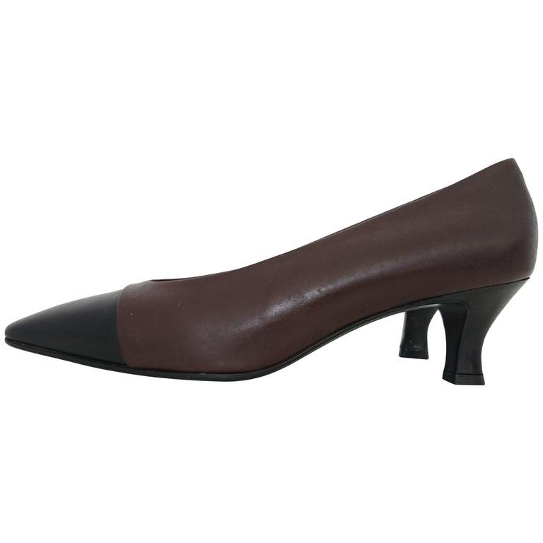 bf4cb060c5d30 Prada Dark Bicolor Heels in Leather. Size 39 1/2