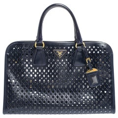 Prada Dark Blue Perforated Patent Leather Tote