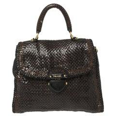 Prada Dark Brown/Black Woven Madras Leather Flap Top Handle Bag