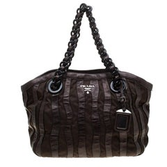 Prada Dark Brown Leather and Nylon Wave Hobo