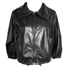 Prada Dark Brown Leather Bomber Jacket With Adjustable Waist & Collar Straps