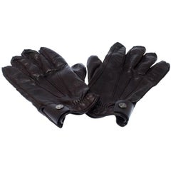Prada Dark Brown Leather Cashmere Lining Gloves