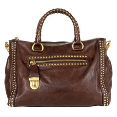 PRADA dark brown leather CRAQUELLE SMALL Shoulder Bag