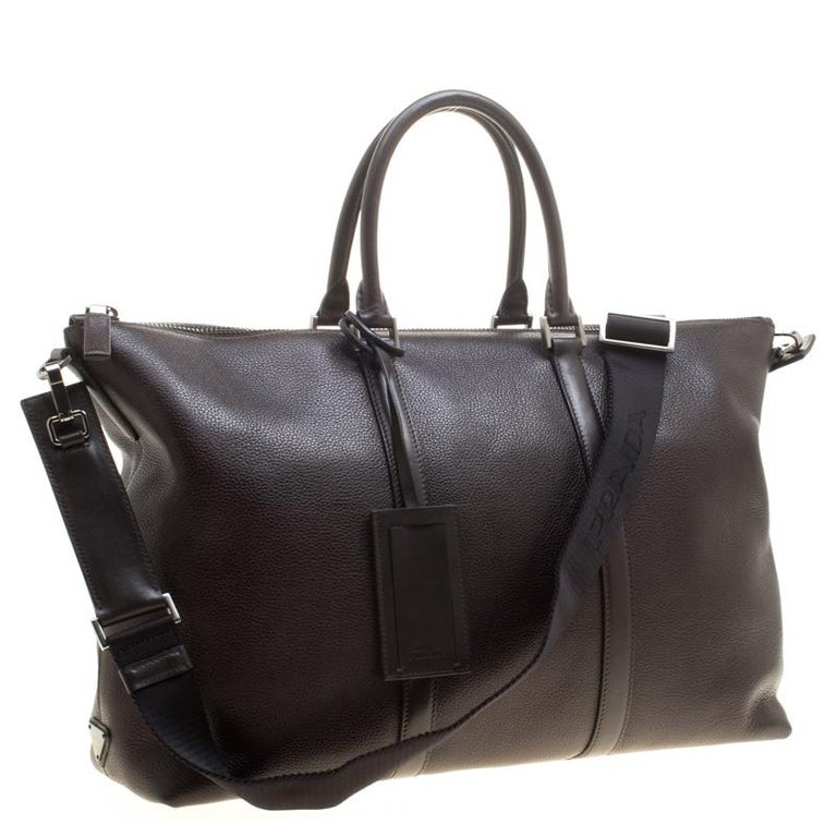 99a1d3682 Prada Dark Brown Leather Luggage Weekender Bag For Sale at 1stdibs