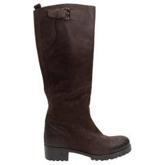 Prada Dark Brown Leather Riding Boots