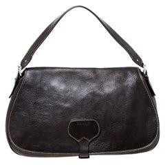 Prada Dark Brown Leather Shoulder Bag