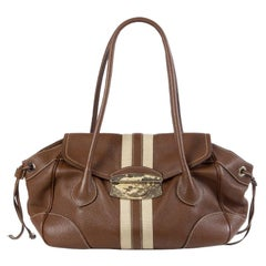 PRADA dark brown leather STRIPE Shoulder Bag