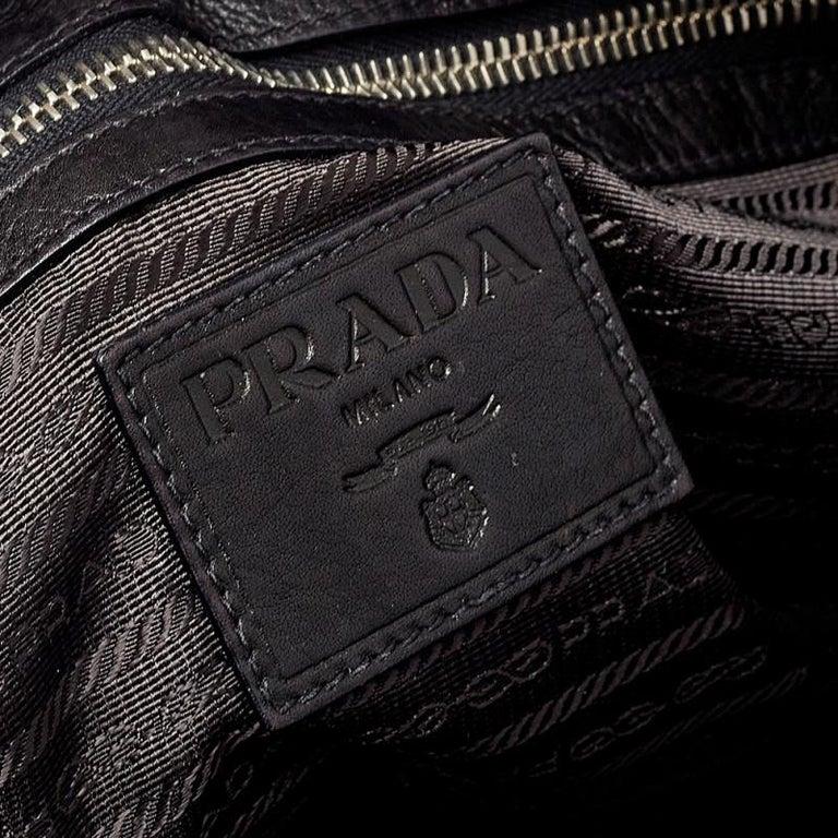 Prada Dark Brown Pleated Leather Satchel For Sale 5