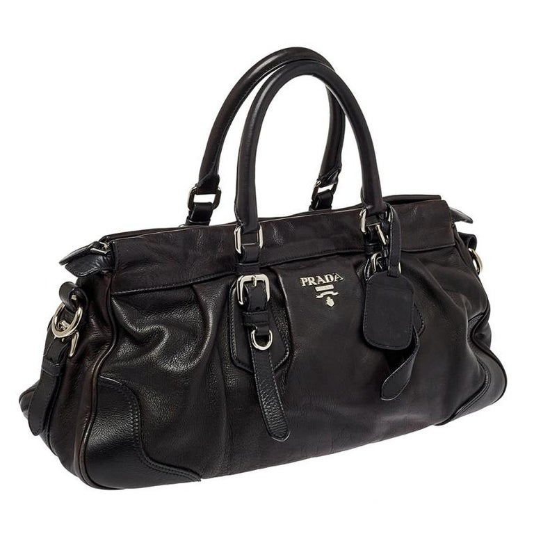 Black Prada Dark Brown Pleated Leather Satchel For Sale