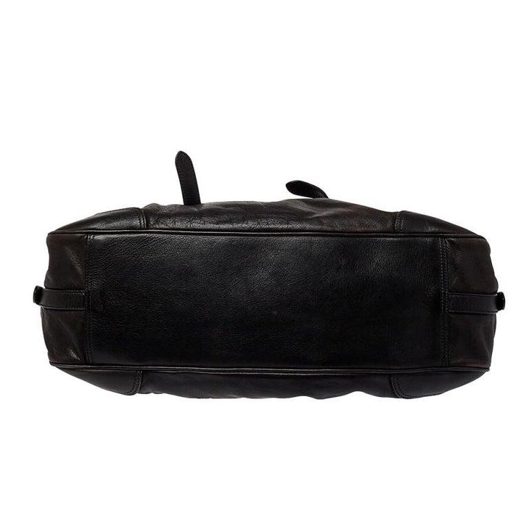 Women's Prada Dark Brown Pleated Leather Satchel For Sale