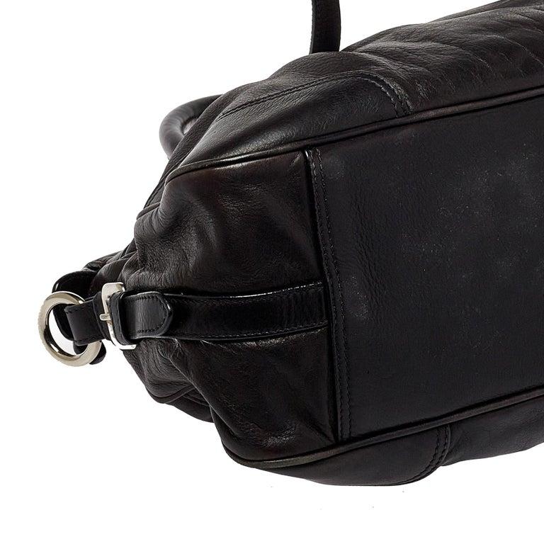 Prada Dark Brown Pleated Leather Satchel For Sale 1