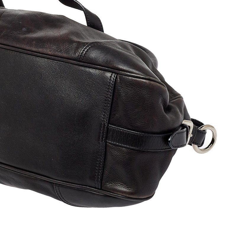 Prada Dark Brown Pleated Leather Satchel For Sale 2