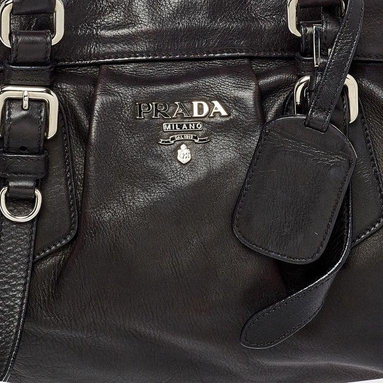 Prada Dark Brown Pleated Leather Satchel For Sale 3