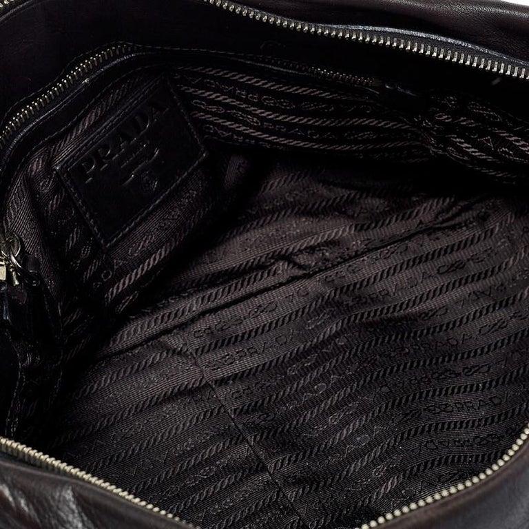 Prada Dark Brown Pleated Leather Satchel For Sale 4