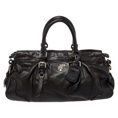 Prada Dark Brown Pleated Leather Satchel