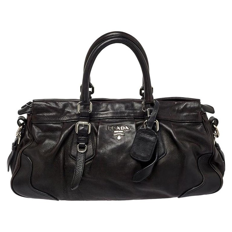 Prada Dark Brown Pleated Leather Satchel For Sale