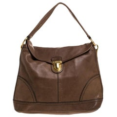 Prada Dark Brown Soft Leather Pushlock Hobo