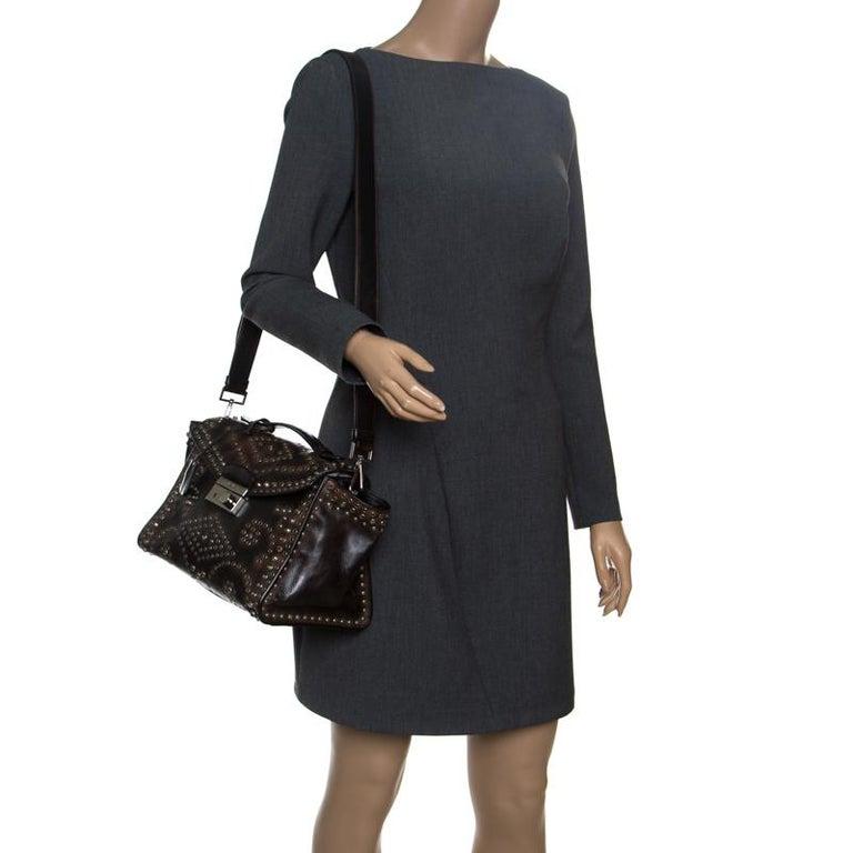 Prada Dark Brown Vintage Leather Eyelet Crystal Embellished Top Handle Bag In Good Condition For Sale In Dubai, Al Qouz 2