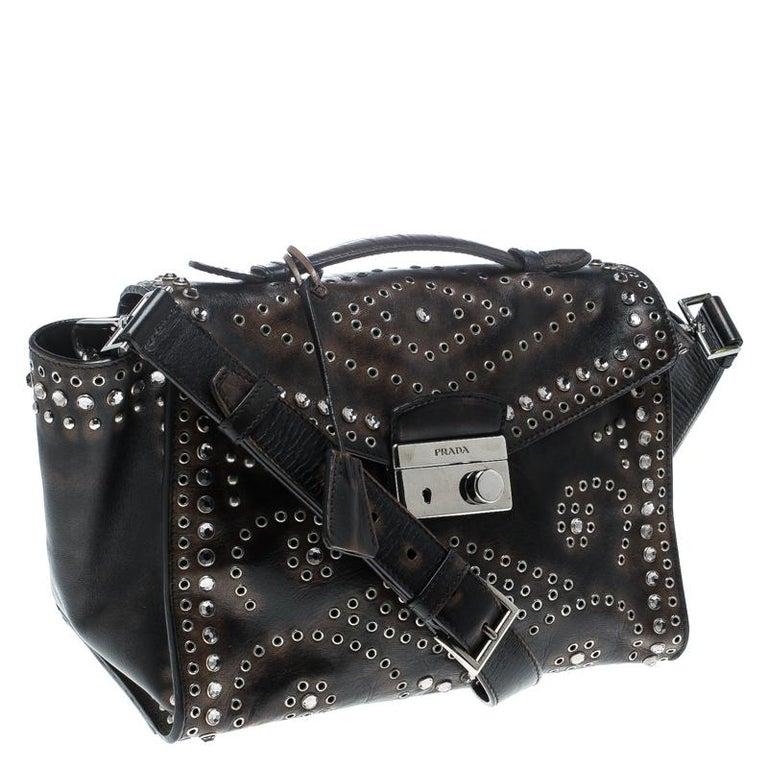 Women's Prada Dark Brown Vintage Leather Eyelet Crystal Embellished Top Handle Bag For Sale