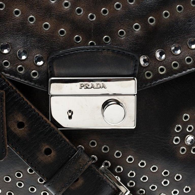 Prada Dark Brown Vintage Leather Eyelet Crystal Embellished Top Handle Bag For Sale 1