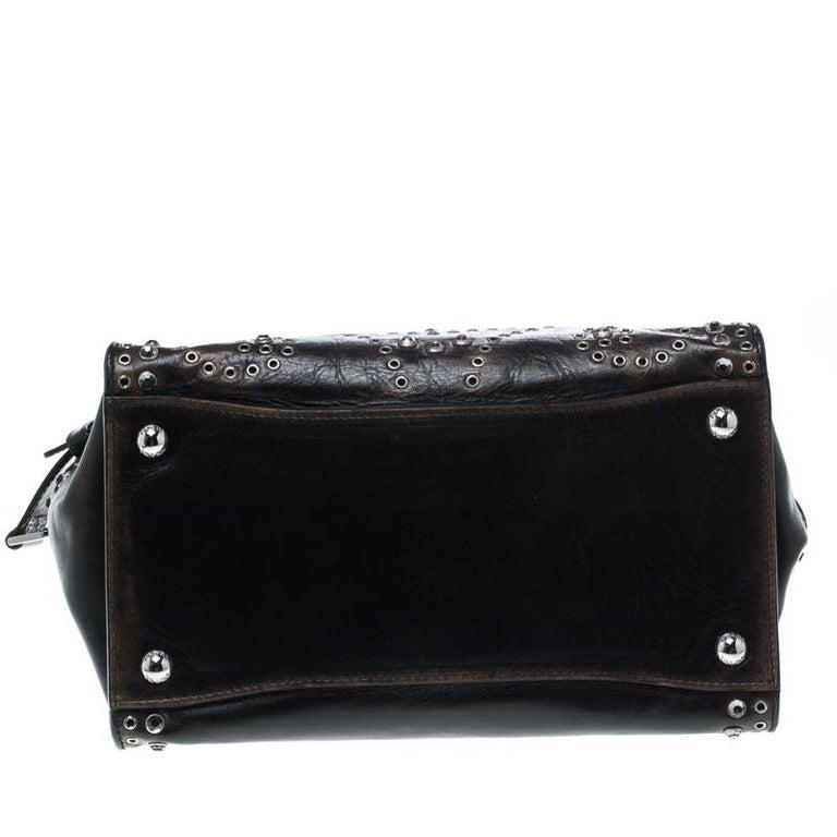 Prada Dark Brown Vintage Leather Eyelet Crystal Embellished Top Handle Bag For Sale 2