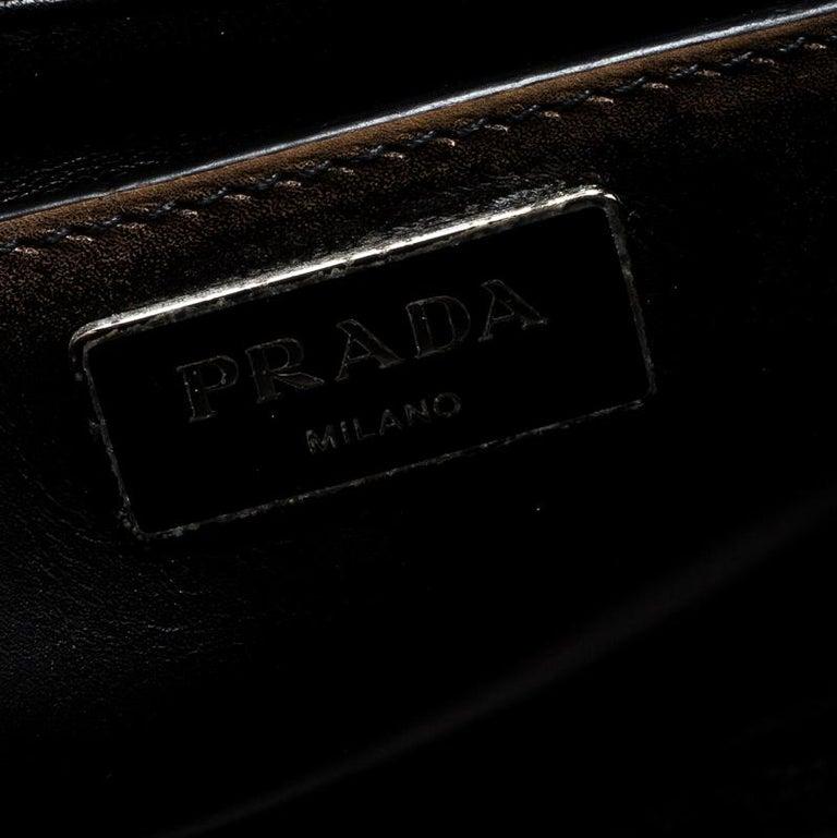 Prada Dark Brown Vintage Leather Eyelet Crystal Embellished Top Handle Bag For Sale 4
