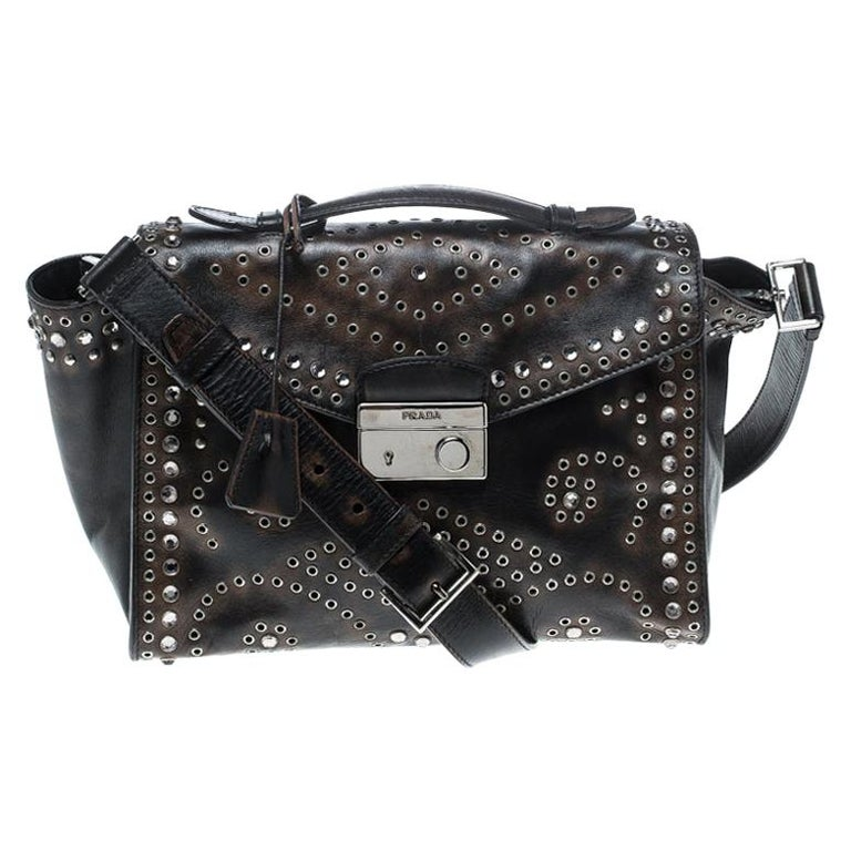 Prada Dark Brown Vintage Leather Eyelet Crystal Embellished Top Handle Bag For Sale