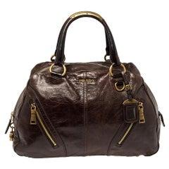 Prada Dark Brown Vitello Shine Leather Bowler Bag
