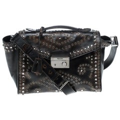 Prada Dark Brown Vitello Vintage Eyelet Crystal Embellished Top Handle Bag