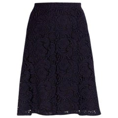 PRADA dark brown wool FLORAL LACE A-Line Skirt 44 L