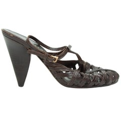 Prada Dark Brown Woven Leather Slingback Heels