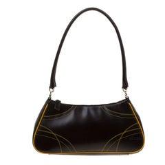 Prada Dark Brown/Yellow Leather Shoulder Bag