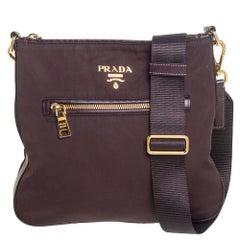 Prada Dark Burgundy Nylon and Leather Zip Messenger Bag