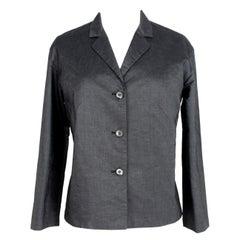 Prada Dark Gray Cotton Short Evening Soft Jacket