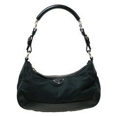 Prada Dark Green Nylon and Leather Shoulder Bag