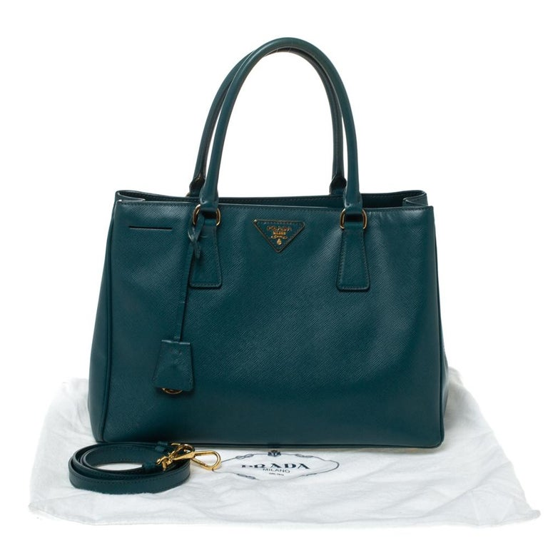Prada Dark Green Saffiano Lux Leather Medium Galleria Tote For Sale 8