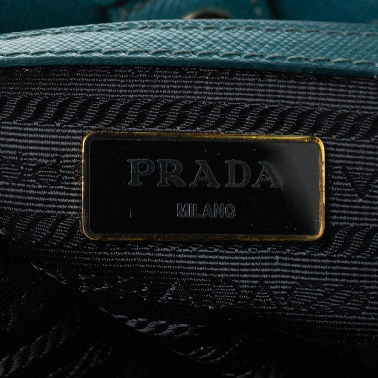 Prada Dark Green Saffiano Lux Leather Medium Galleria Tote For Sale 5