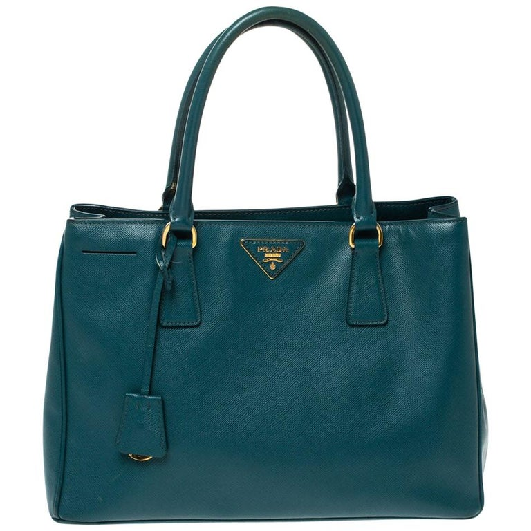 Prada Dark Green Saffiano Lux Leather Medium Galleria Tote For Sale