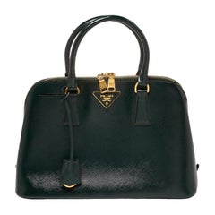 Prada Dark Green Saffiano Lux Patent Leather Medium Promenade Tote