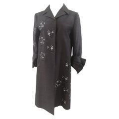 Prada dark grey sequins beads coat