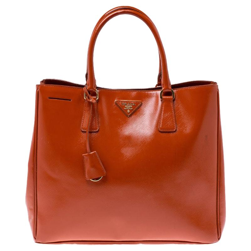 Prada Dark Orange Patent Leather Gardener's Tote