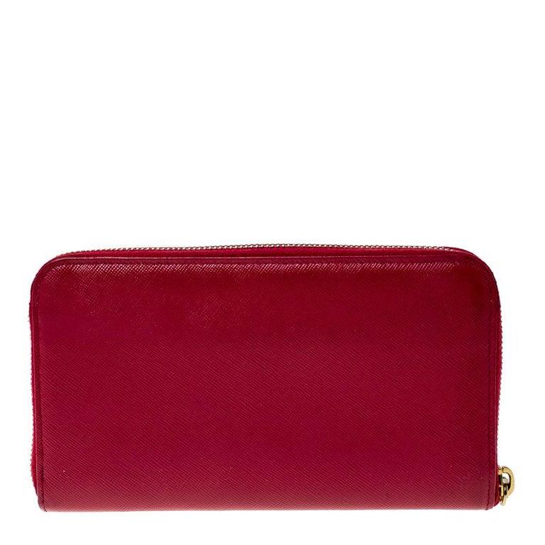 Women's Prada Dark Pink Saffiano Lux Leather Zip Around Wallet For Sale