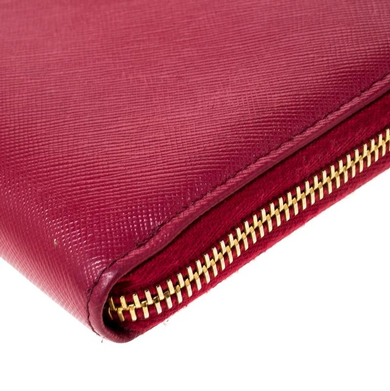 Prada Dark Pink Saffiano Lux Leather Zip Around Wallet For Sale 2