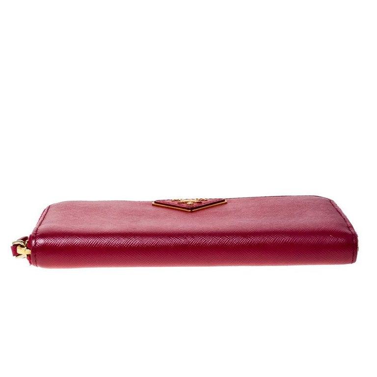 Prada Dark Pink Saffiano Lux Leather Zip Around Wallet For Sale 4