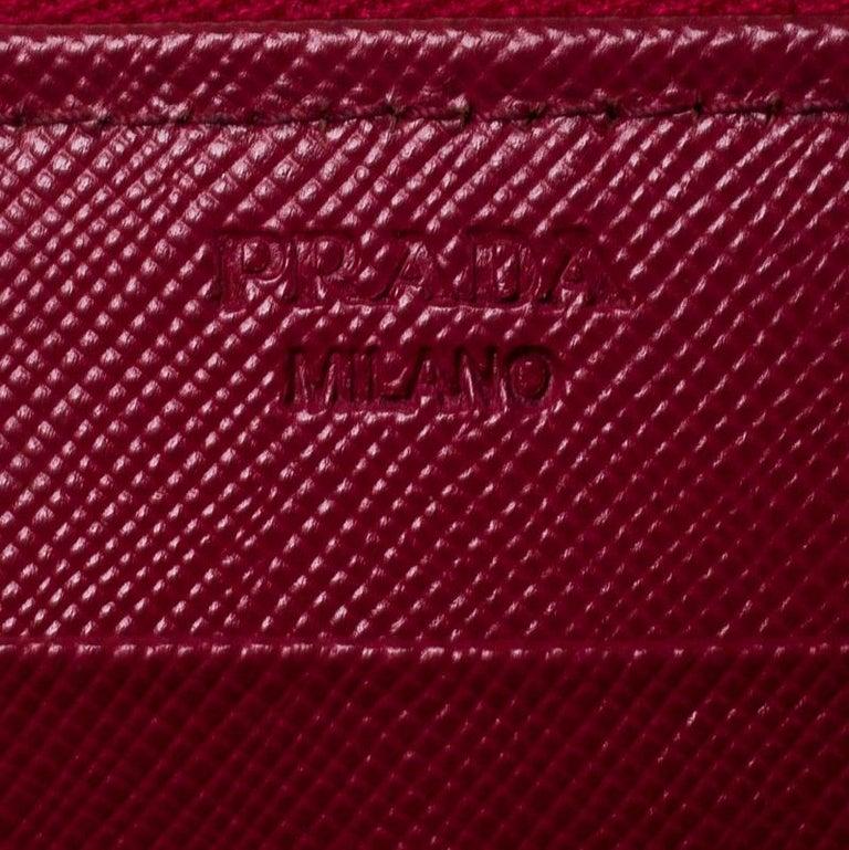 Prada Dark Pink Saffiano Lux Leather Zip Around Wallet For Sale 5