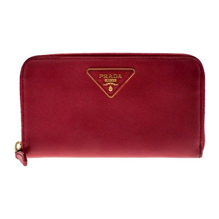 Prada Dark Pink Saffiano Lux Leather Zip Around Wallet For Sale