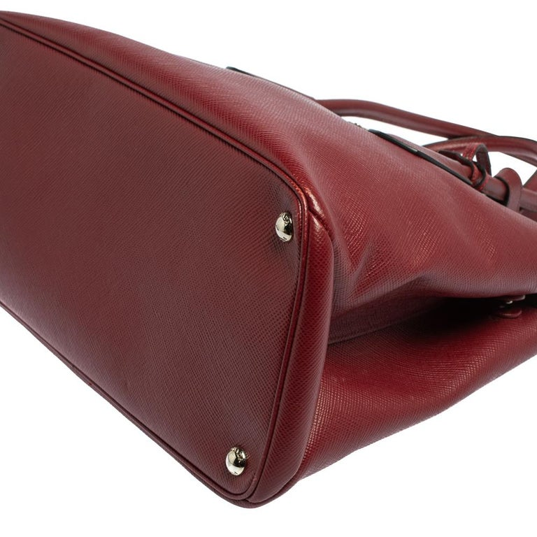 Prada Dark Red Saffiano Cuir Leather Twin Tote For Sale 5